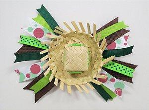 Laço de festa junina de fita colorida e chapeu - 13.270 - Verde e branco