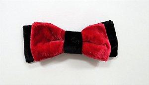 Laço de veludo chanel médio - Cod. 30.282 - Vermelho com preto