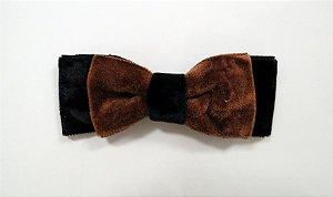 Laço de veludo chanel médio - Cod. 30.282 - Marrom com preto