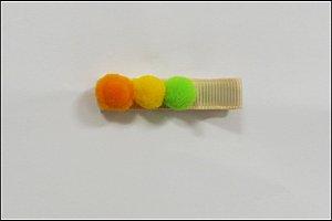 Clip com aplique - Cod 14.053 - Pompom laranja