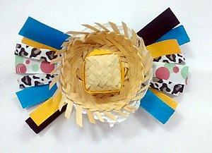 Laço de festa junina de fita colorida e chapeu - 13.270 - Azul com amarelo