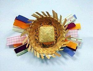 Laço de festa junina de fita colorida e chapeu - 13.270 - Amarelo colorido