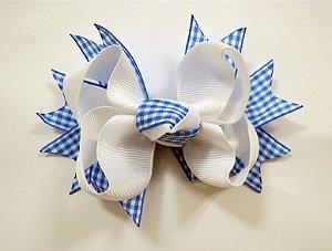 Laço tipo borboleta Xadrez médio - Cod 13.271 - Azul e branco