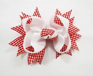 Laço tipo borboleta Xadrez médio - Cod 13.271 - Vermelho e branco