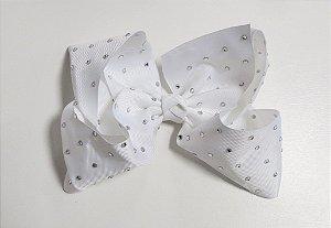 Laço Maxi tipo borboleta com strass - Cod 17.299 - Branco