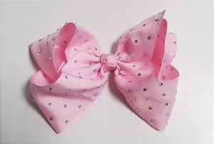 Laço Maxi tipo borboleta com strass - Cod 17.299 - Rosa bebê