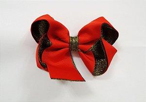 Laço tipo borboleta duas cores com brilho - Cod 17.275 - Vermelho