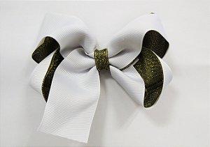 Laço tipo borboleta duas cores com brilho - Cod 17.275 - Branco dourado