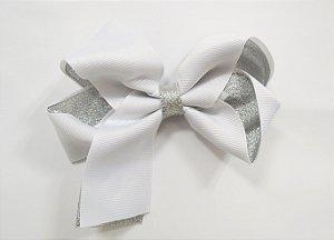 Laço tipo borboleta duas cores com brilho - Cod 17.275 - Branco prateado