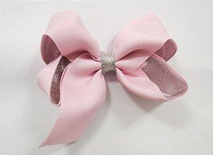 Laço tipo borboleta duas cores com brilho - Cod 17.275 - Rosa bebê