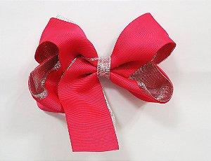 Laço tipo borboleta duas cores com brilho - Cod 17.275 - Pink