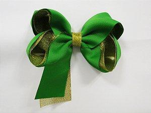 Laço tipo borboleta duas cores com brilho - Cod 17.275 - Verde bandeira
