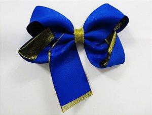 Laço tipo borboleta duas cores com brilho - Cod 17.275 - Azul royal