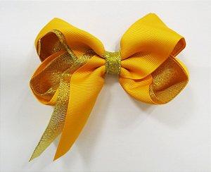 Laço tipo borboleta duas cores com brilho - Cod 17.275 - Mostarda