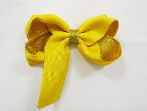 Laço tipo borboleta duas cores com brilho - Cod 17.275 - Amarelo