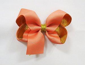 Laço tipo borboleta duas cores com brilho - Cod 17.275 - Salmão