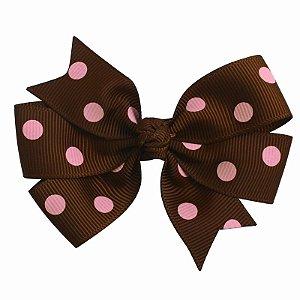 Laço duplo de pontas - modelo  Abby - cód. 13.165 - Marrom poá rosa