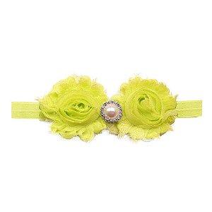 Faixa nylon com flores de tecido e pérolas/strass - cód 22.187 - Amarelo