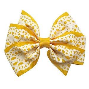 Laço pontas invertidas - cód. 17.142 - Amarelo rendado