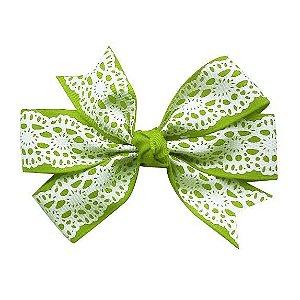 Laço duplo de pontas - modelo  Abby - cód. 13.165 - Verde rendado