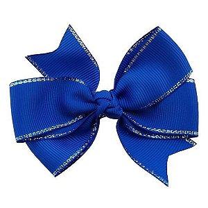 Laço duplo de pontas - modelo  Abby - cód. 13.165 - Azul royal com borda prateada