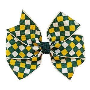 Laço duplo de pontas - modelo  Abby - cód. 13.165 - Verde e amarelo quadriculado