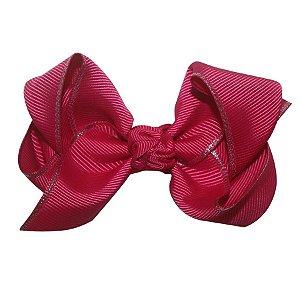 Laço médio em x  com nó - Cód. 13.196 - Rosa pink com bordas prateadas