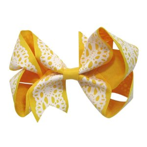 Laço tipo borboleta Grande - Cód. 17.174 - Amarelo rendado