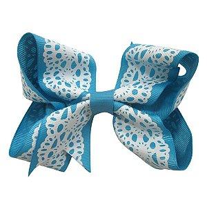 Laço tipo borboleta Grande - Cód. 17.174 - Azul rendado