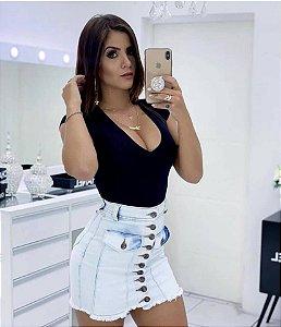 Saia Jeans Botão Clara