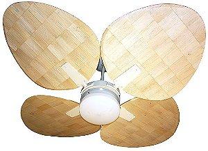 Ventilador de Teto Personalizado Aruba - 4 pás Fibra Palha de Milho - Luminária Drops Opalino