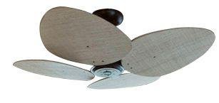 Ventilador de Teto Personalizado Aruba - 4 pás Buriti Envelhecido - Sem iluminação (motor aparente)
