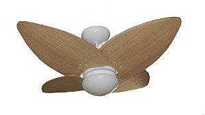 Ventilador de Teto Personalizado Maresias - 4 pás Fibra Buriti Natural - Luminária Flat Opalino
