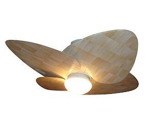 Ventilador de Teto Personalizado Maresias - 4 pás Palha de Milho Natural - Luminária Flat Opalino