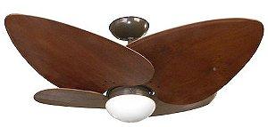 Ventilador de Teto Personalizado Maresias - 4 pás Madeira Imbuia - Luminária Flat Opalino