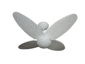 Ventilador de Teto Personalizado Surf - 4 pás Fibra Olho D'Água Branco Provençal - Luminária Flat Opalino