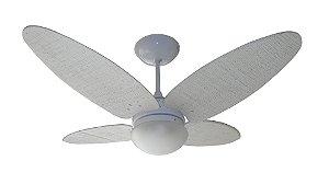Ventilador de Teto Personalizado Surf - 4 Pás Fibra Buriti Branco - Luminária Flat Jateado