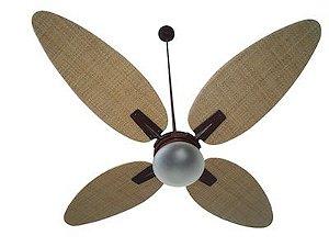 Ventilador de Teto Personalizado Surf - 4 Pás Fibra Buriti Natural - Luminária Flat Jateado