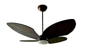 Ventilador de Teto Personalizado Bali - 4 pás Fibra Buriti Imbuia - Luminária Drops Opalino