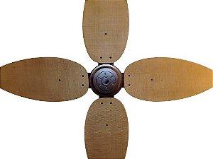 Ventilador de Teto Personalizado Surf - 4 pás Fibra Buriti Envelhecido - Sem Iluminação (motor aparente)