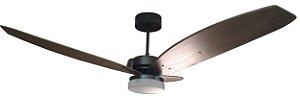 Ventilador de Teto Personalizado Cidade - 3 pás Madeira Nogueira - Luminária Drops Jateado