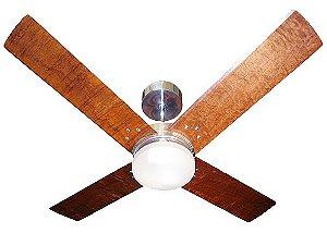Ventilador de Teto Personalizado Copolla - 4 pás Madeira - Luminária Drops Opalino