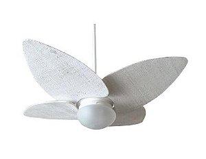 Ventilador de Teto Personalizado Maresias - 4 pás Fibra Buriti Branco - Luminária Flat Jateado