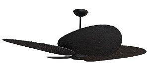Ventilador de Teto Personalizado Maresias - 4 pás Fibra Olho D'Água Preto - Sem Iluminação (motor aparente)