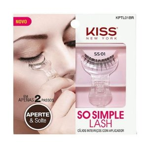 Cílios Postiços Inteiriços com Aplicador So Simple Lash 01 Kiss New York