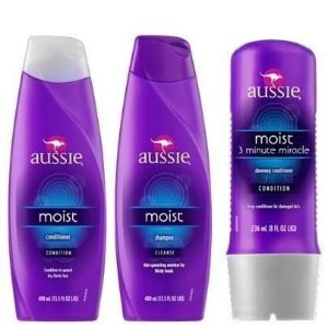 KIT AUSSIE MOIST : SHAMPOO+ CONDICIONADOR + MÁSCARA 3 MINUTE
