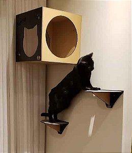Kit 3 Degraus de Parede para Gatos  Preto