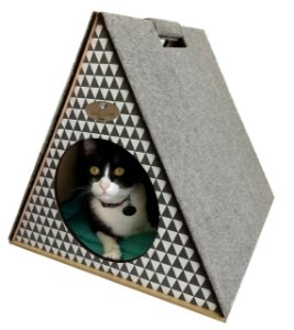Toquinha Com Arranhador para Gatos -Geo Cinza