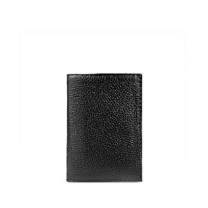 Carteira flip em couro preta personalizável