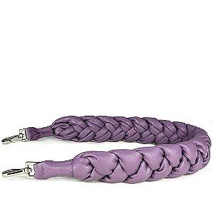 Alça trançada em couro lilas